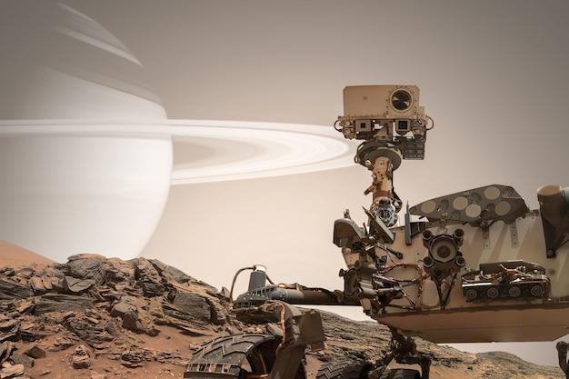 Curiosidade mars rover explorando a superfície do planeta vermelho
