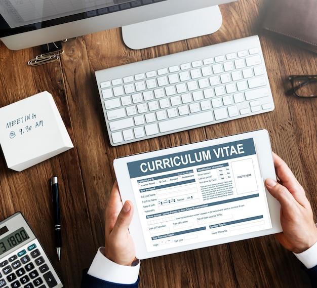 Curriculum vitae currículo conceito de candidatura a emprego