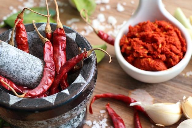 Curry e ingredientes de pimenta