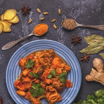 Curry tradicional indiano com legumes