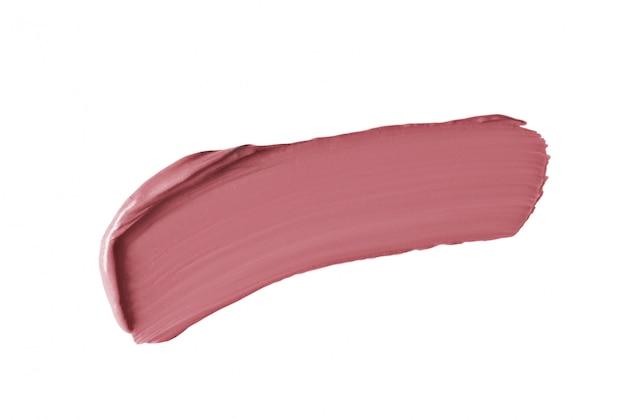 Curso de batom rosa nude isolado no branco