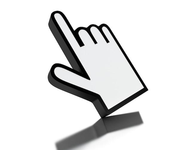 Cursor de mão de mouse de computador 3d