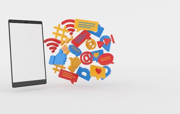 Curtir, bate-papo, balão de comentário, câmera, hashtag, símbolo de rede sem fio wi-fi, at, ícones de jogo e smartphone