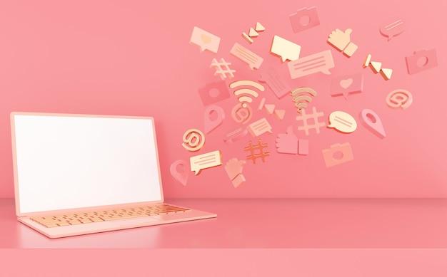 Curtir, bate-papo, balão de comentário, câmera, hashtag, símbolo de rede sem fio wi-fi, at, ícones de reprodução e laptop
