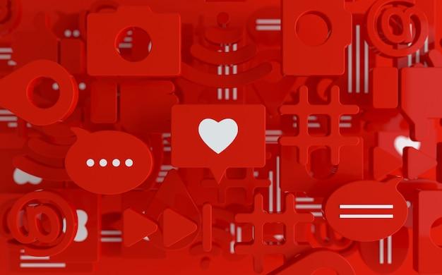 Curtir, bate-papo, balão de comentário, câmera, hashtag, símbolo de rede sem fio wi-fi, em, ícones de reprodução
