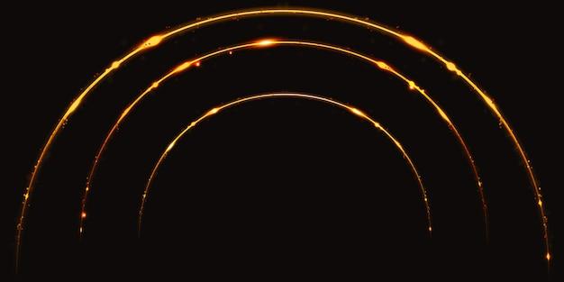 Curva de luz dourada sparkle sparkle 3d