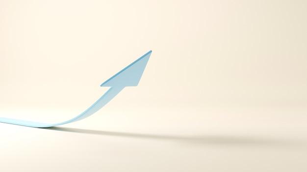 Curva de seta ascendente apontando para cima símbolo de negócios e finanças ilustração 3d render