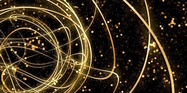 Curva deformada fundo abstrato luz dourada bokeh ilustração 3d