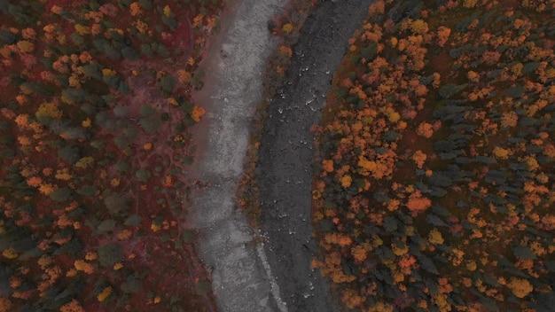 Curva do rio deserta costa rochosa outono folhas amareladas