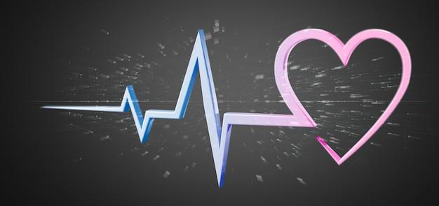 Curva médica do coração da rendição 3d isolada