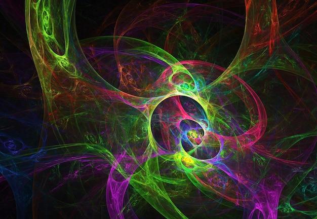 Curvas abstratas coloridas fractal e linhas em fundo preto