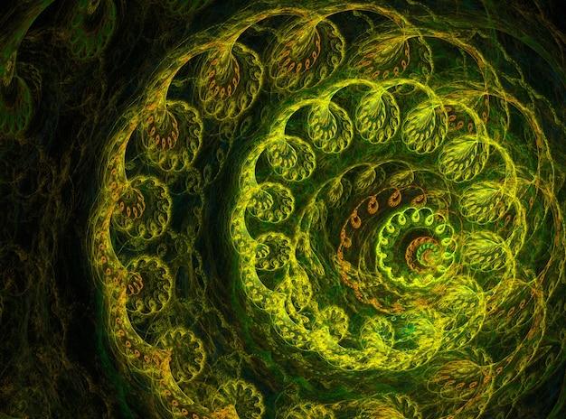Curvas abstratas verdes em fundo preto
