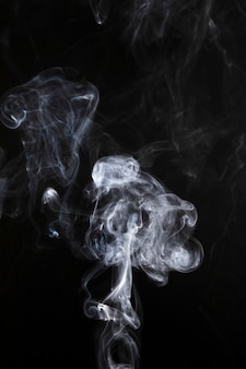 Curvas de fumo abstratas brancas e onda em fundo preto