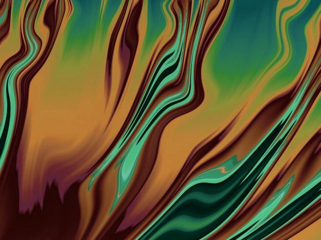 Curvas textured abstratas do fractal verde, amarelo e alaranjado. 3d render