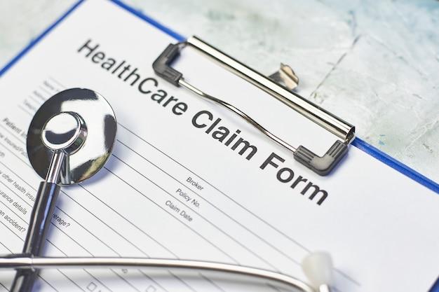 Custo de assistência médica ou formulário de solicitação de seguro de saúde