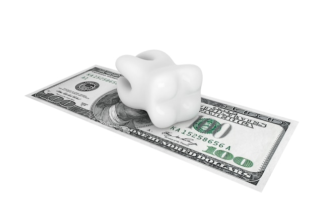 Custo do conceito odontológico. dente com dinheiro em um fundo branco