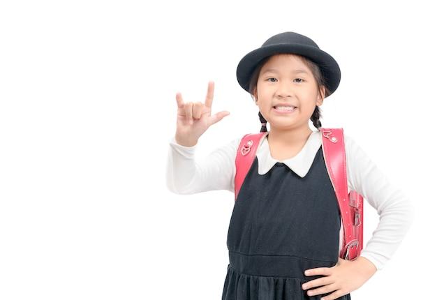 Cute, estudante japonês, mostrar, amor, sinal, mão, isolado