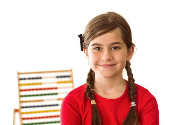 Cute little girl with a abacus