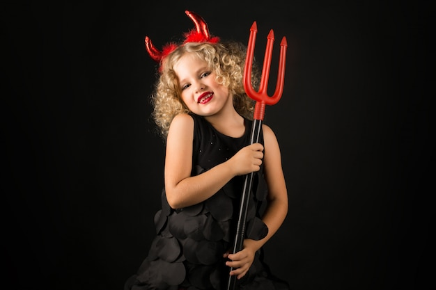 Cute, menina, diabo, traje