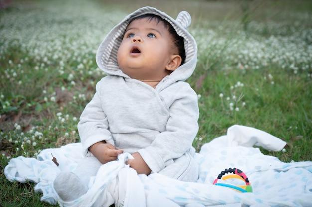 Cute, pequeno, asina, bebê, sentando, em, branca, flor, jardim