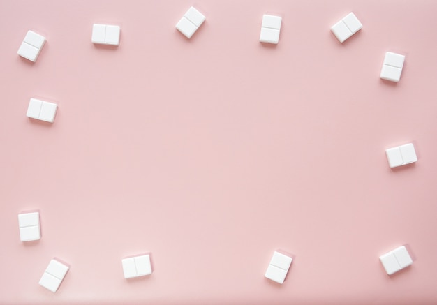 Cute pink background mockup with candy