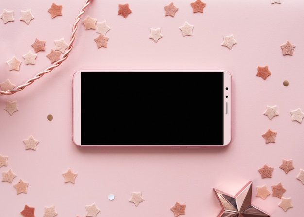 Cute pink background phone mockup horizontal