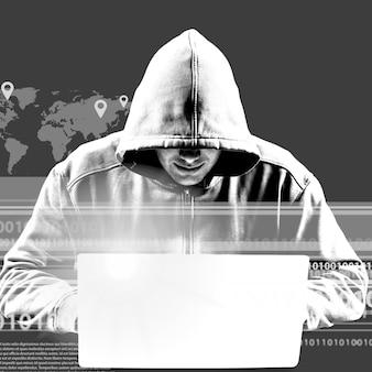Cyber hacker usando laptop em fundo escuro com ícones