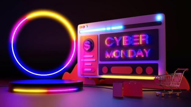Cyber segunda-feira a luz de néon brilha nas compras online. renderização 3d