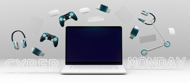 Cyber segunda-feira com diferentes dispositivos
