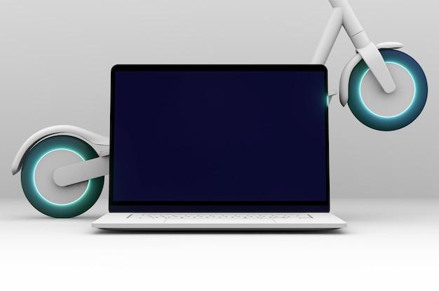 Cyber segunda-feira com laptop e scooter