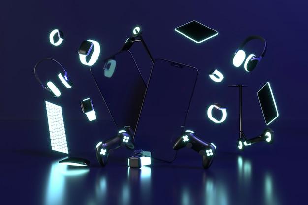 Cyber segunda feira com luz neon