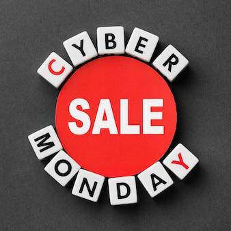 Cyber segunda-feira escrita com conceito de letras scrabble
