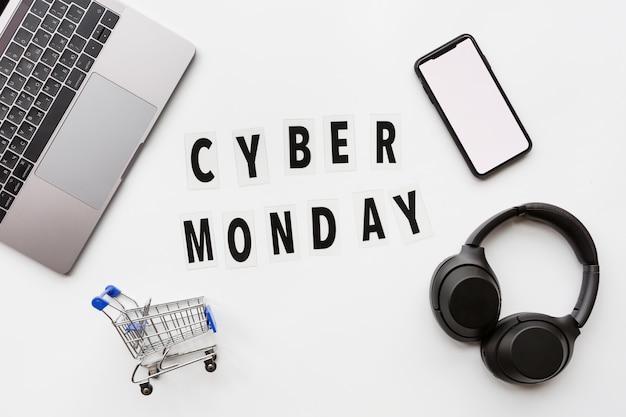 Cyber segunda-feira flat lay