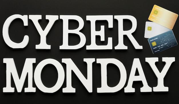 Cyber segunda-feira mensagem com cartões