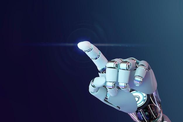 Cyborg 3d mão apontando fundo, tecnologia de inteligência artificial