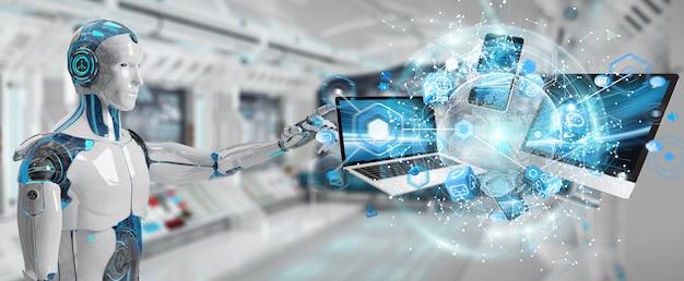 Cyborg branco conectando dispositivos juntos