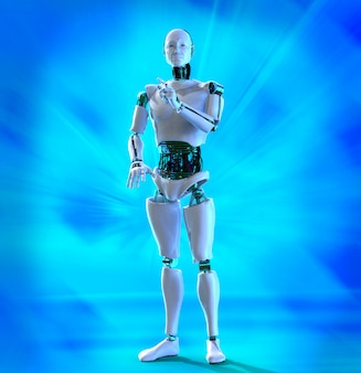 Cyborg homem com luzes azuis