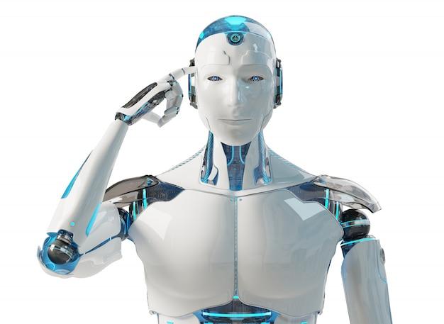 Cyborg masculino branco pensando e tocando a cabeça