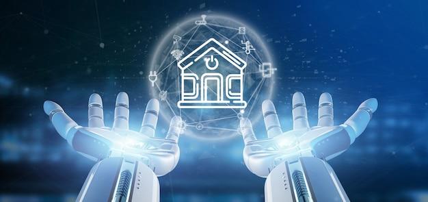Cyborg segurando interface de casa inteligente com ícone, estatísticas e dados