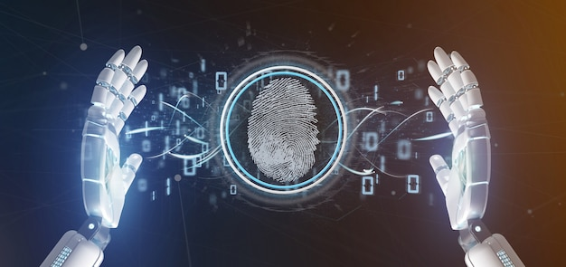 Cyborg, segurando, um, impressão digital digital, identificação, e, código binário, 3d, fazendo