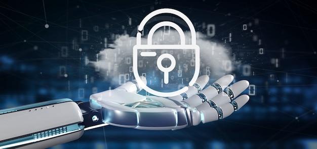 Cyborg segurando uma nuvem binária com cadeado de segurança de internet