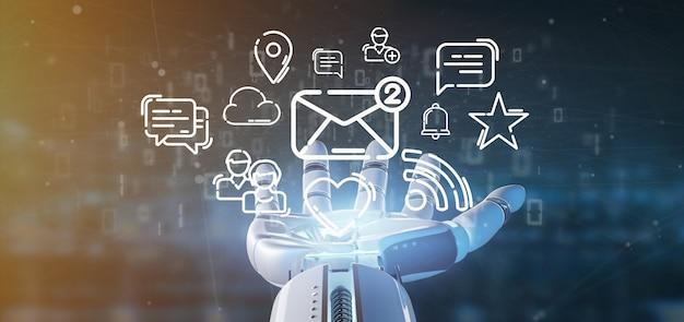 Cyborg segurando uma nuvem de ícone de rede de mídia social