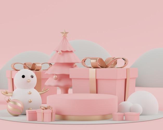 D cena de renderização do feriado de natal com exibição de pódio ou pedestal para mock up