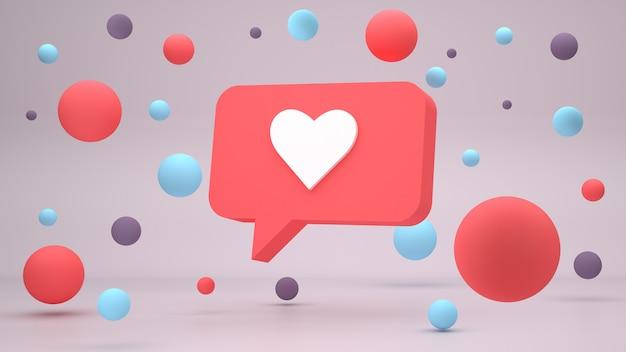 D gosto da ilustração do design da notificação nas redes sociais