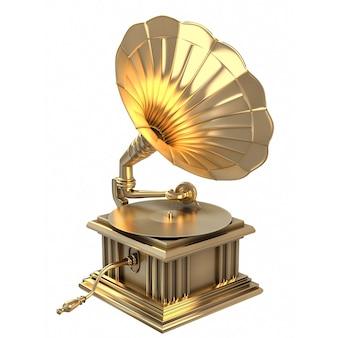 D ilustração do prêmio do gramofone de ouro isolado no fundo branco