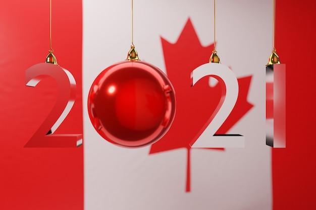 D ilustração feliz ano novo no contexto da bandeira nacional do canadá