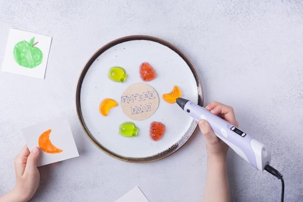 D imprimir conceito alimentar d caneta frutas tecnologias aditivas modernas revolução industrial foto de alta qualidade