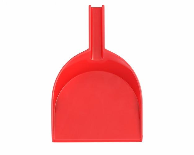 D render da pá de lixo vermelha isolada no branco
