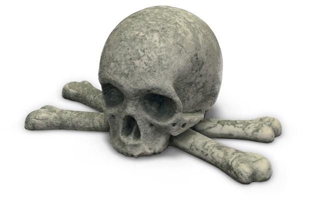D render de caveira de pedra e ossos cruzados isolados no branco