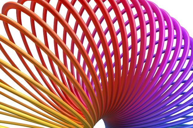 D render do brinquedo de plástico colorido arco-íris mola espiral